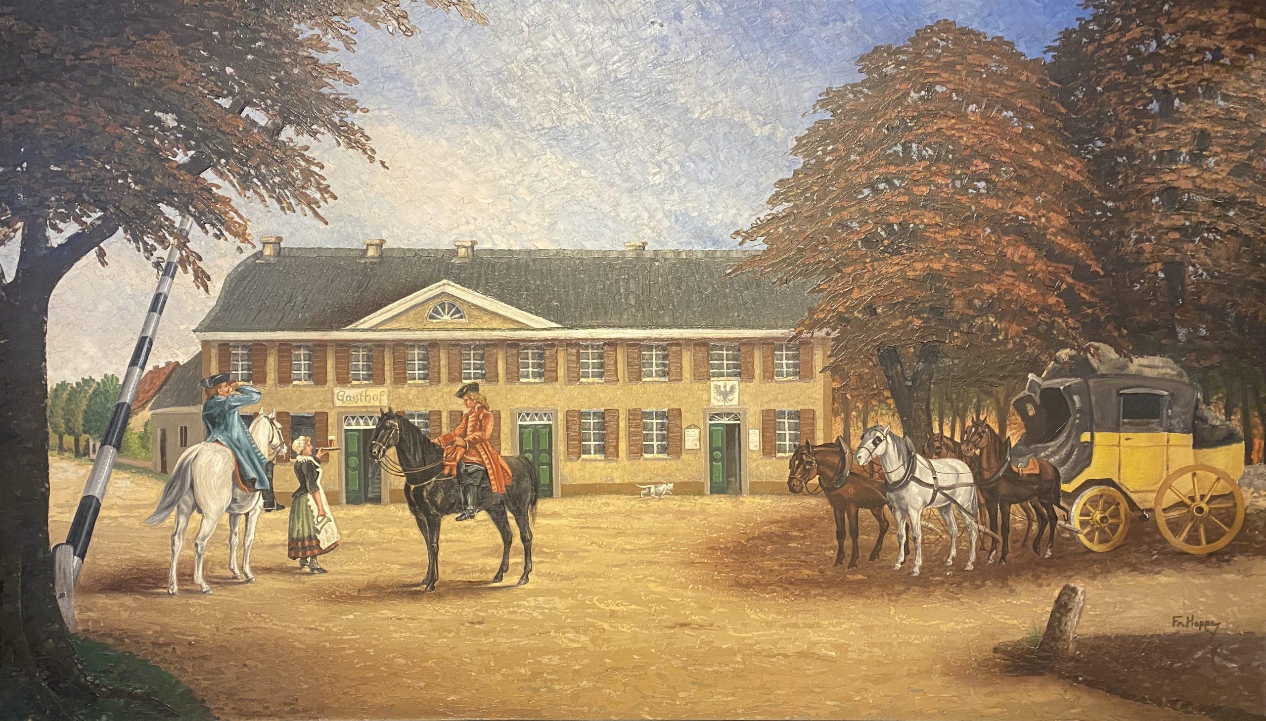 Fritz Hoppe (1918): Posthalterei und Munizipalamt Langenfeld, Ansicht aus den 1860er Jahren