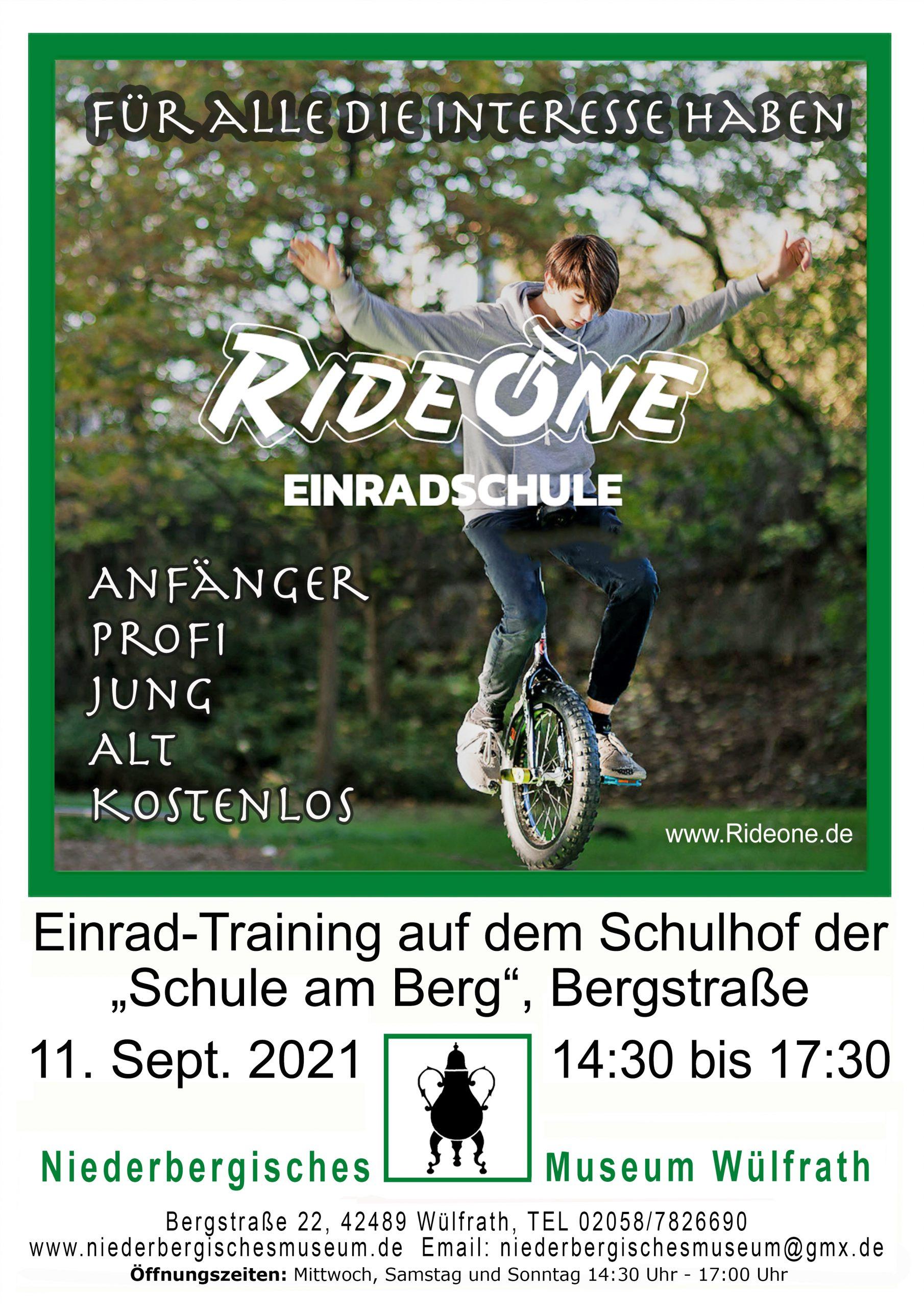 Poster Einrad-Training Niederbergisches Museum